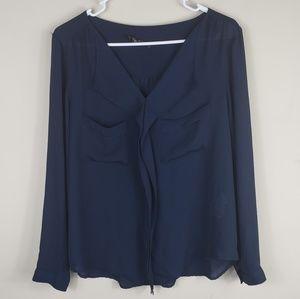 Zara | Navy Long Sleeve Blouse